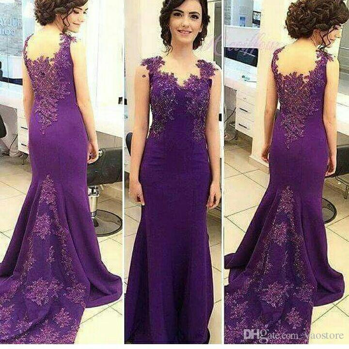 759a6a3e0047c Mermaid Long Formal Dresses 2017 Lace Appliques Purple Evening Gowns Soft  Satin Long Train Party Dresses Cheap Formal Gowns Fashion Dresses From ...