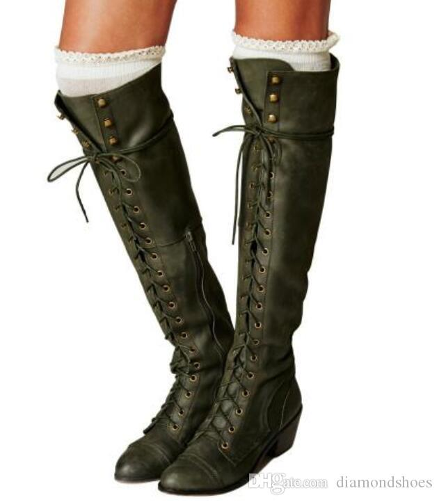 Winter Women Knee High Boots Vintage