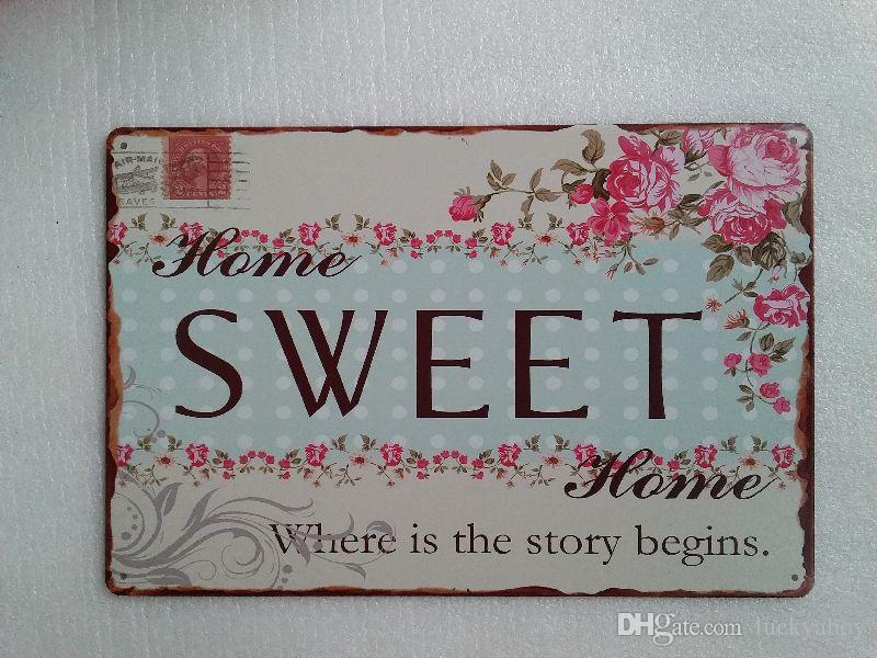 Sweet Home Where is the story begins Vintage Rustic Home Decor Bar Pub Hotel Restaurant Coffee Shop home Decorative Metal Retro Tin Sign