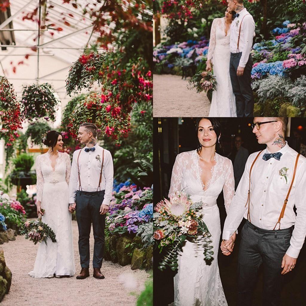 Kate Middleton en Jenny Packham Lace Boho Vestidos de novia de manga larga con cinturón Vestidos de novia elegantes con cuello en V 2020