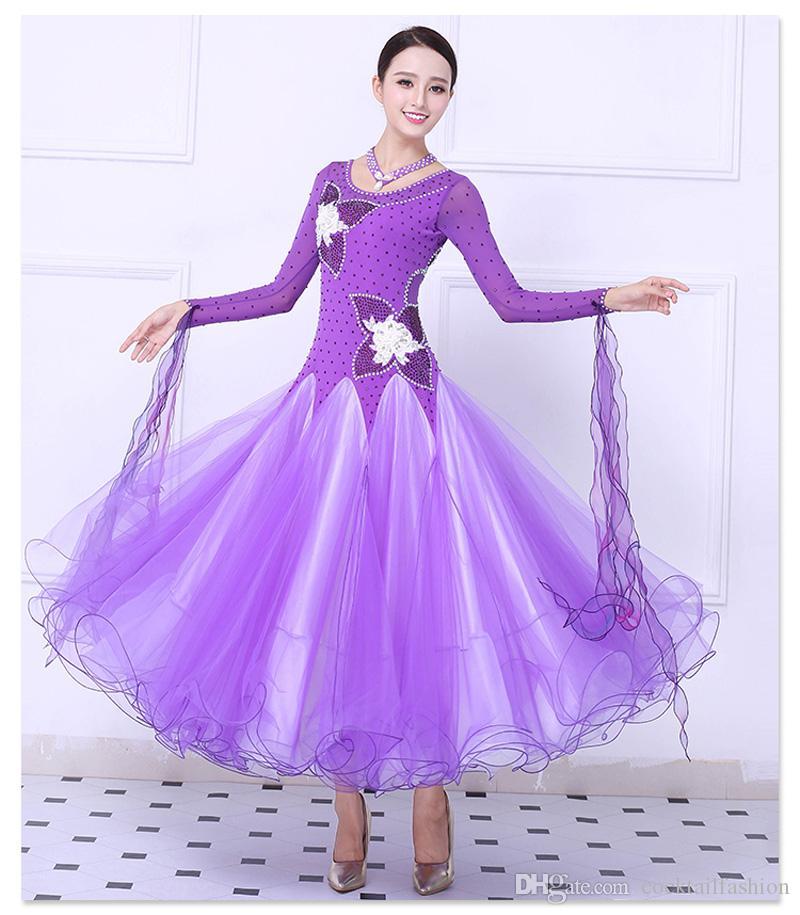 Salle de bal des femmes valse danse robe violet haute qualité sur mesure tango concurrence flamenco jupe dame vêtements de danse
