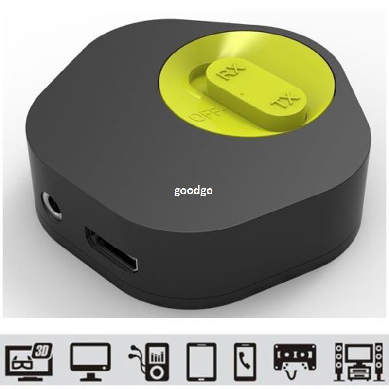 Freeshippig Durable Bluetooth 4.1 Music Transmissor ou Receptor com microfone Bateria de lítio recarregável CSR8670 2in1 Hi-Fi Música Dongle