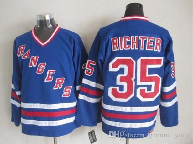 best sneakers 654eb a2593 nhl jerseys new york rangers 35 richter leetch blue home jerseys