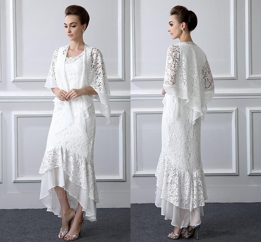 2 pezzi pizzo formale madre della sposa si adatta alle maniche lunghe guaina ad alta bassa dimensione taglia madre vestito con cappotto abiti da sera a buon mercato