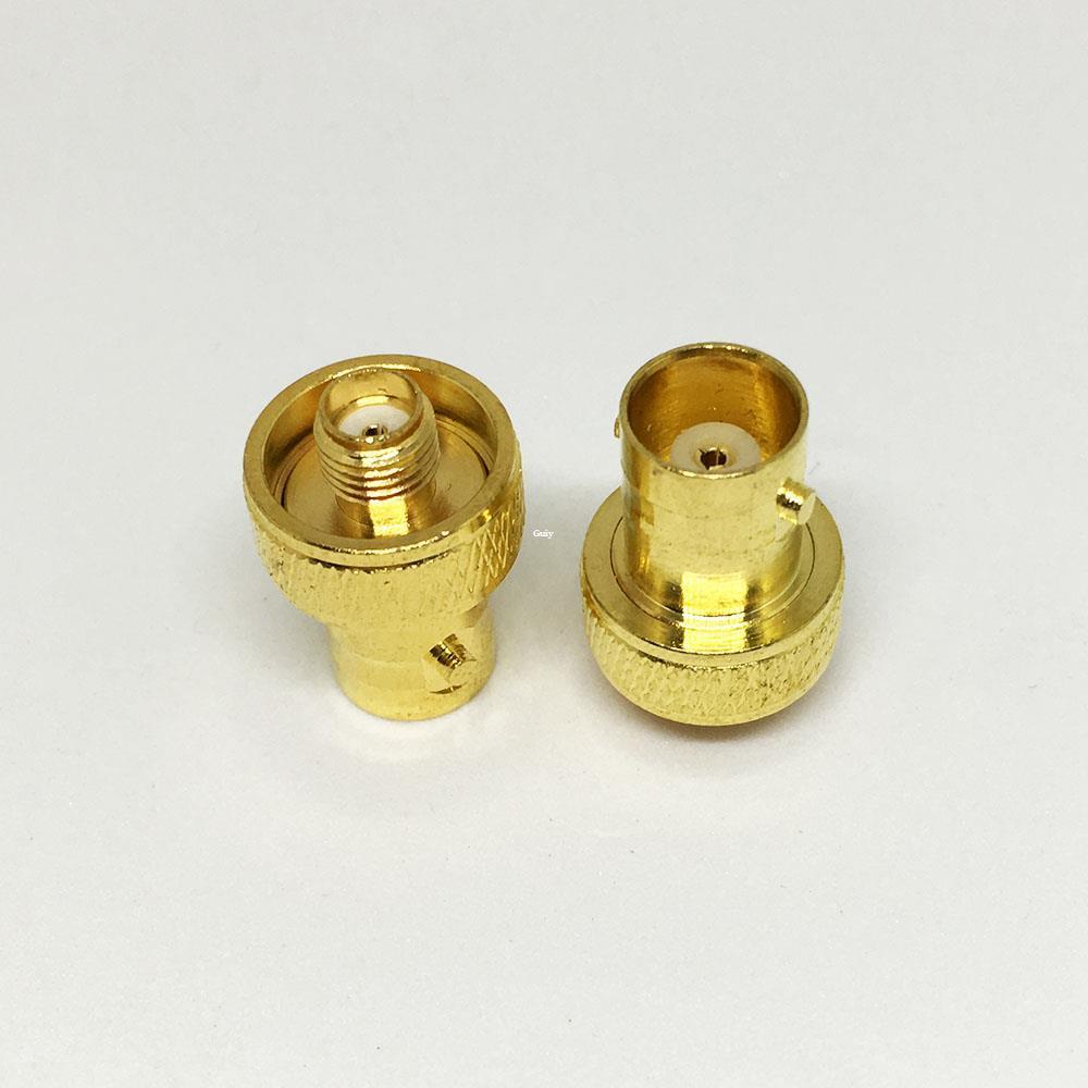 20Pcs الكثير freeshipping النحاس الذهب مطلي sma أنثى إلى bnc أنثى موصل rf محوري اقناع محول bnc إلى sma f / f المكونات