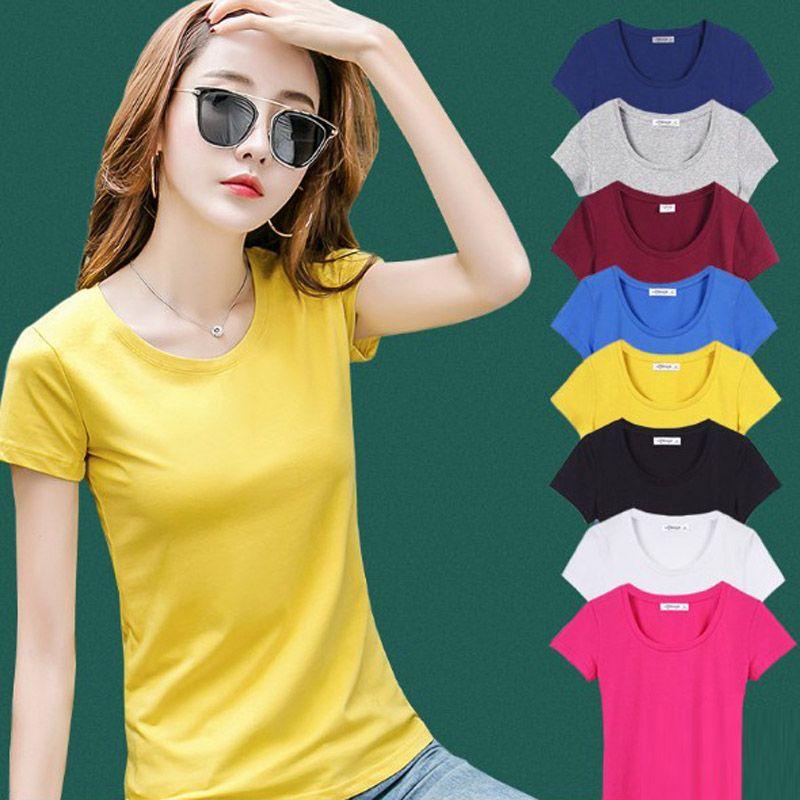 الجملة 30PCS / الكثير أنثى T قميص المرأة الصيف قمصان قصيرة الصلبة O عنق القميص عادية كم القمم الألوان المختلطة