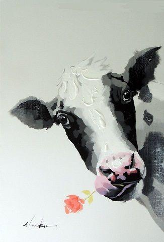 Обрамленная корова с цветочным портретом. Современная поп-арт, ручная роспись. Современное абстрактное животное. Стенная живопись маслом на холсте. Размеры Jn087