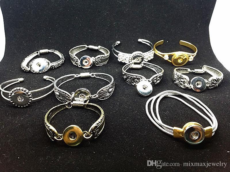 Vendita calda 10 pezzi Mescolare assortiti donne Ginger 18 millimetri a scatto pulsante pezzo fascini placcato polsini bracciali Vintage braccialetti