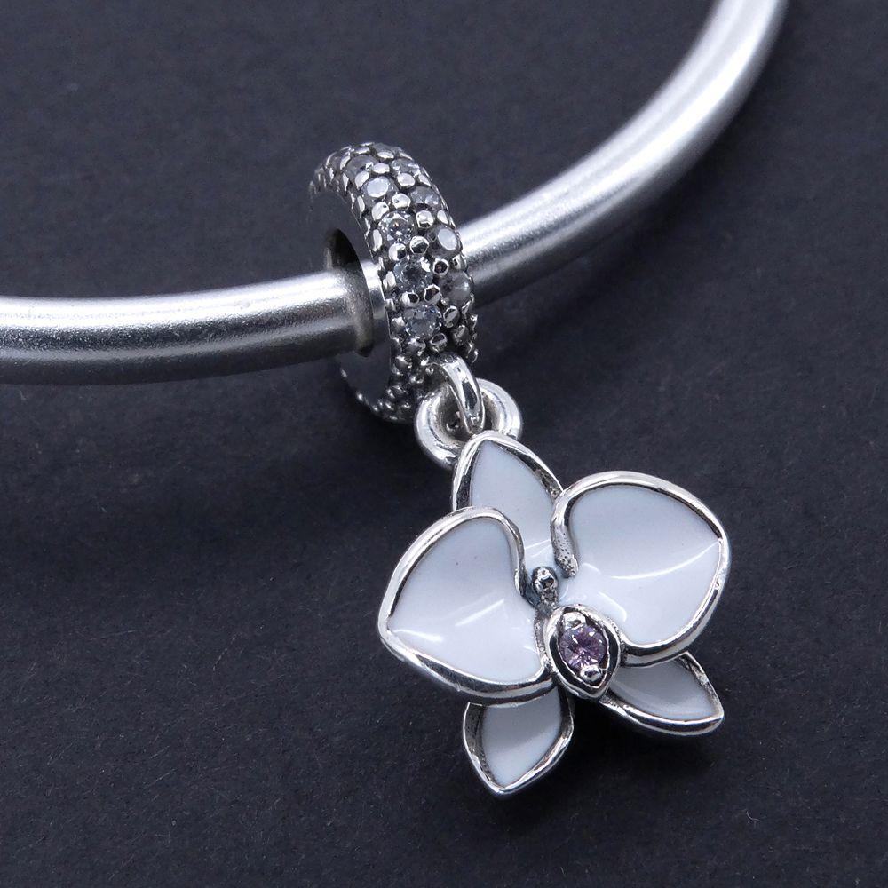 Acheter 925 Bijoux En Argent Sterling Orchidée Blanche Pendentif Charme  Perles Ajustement Pandora Breloques Bracelet Bracelet Pour Femme Bijoux En  ...