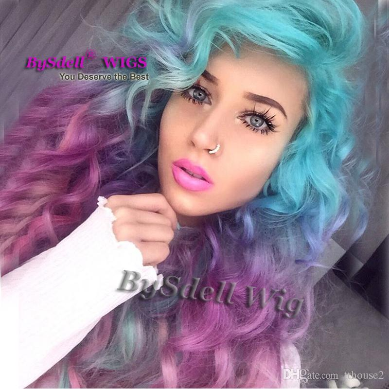 Sexy Unicorn Colorful Mermaid Style Wig Synthetic Pastel Ice Blue Ombre  Purple Color Deep Curly Wave Hair None Lace Wig/ Lace Front Wig Heat  Resistant
