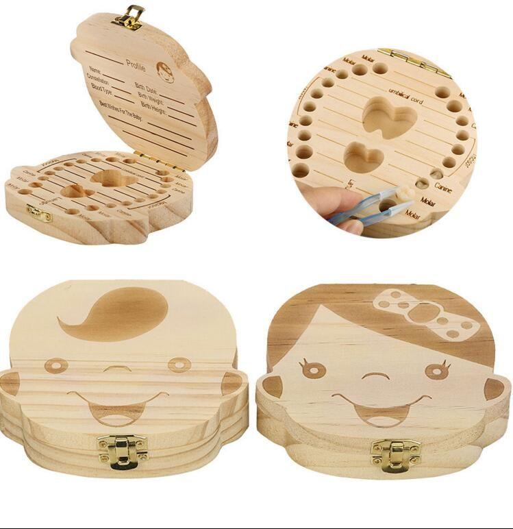 أطفال الاسنان صندوق منظم الطفل حفظ الحليب الأسنان الخشب صندوق تخزين للحصول بوي فتاة الأسنان الخشبي الألبوم التذكار تذكار صندوق منظم KKA2813