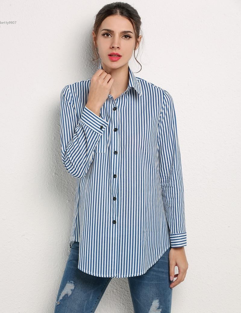 3b0202d8301 2019 Stylish Womens Tops Plus Size Casual Shirt Pockets Turn Down Collar  Vertical Striped Blouse Blue And White From Betty9907, &Price; | DHgate.Com