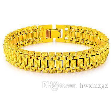 18K желтое золото покрытием мужская ссылка браслет резьба Wrisband 12 мм 8 дюймов JH103