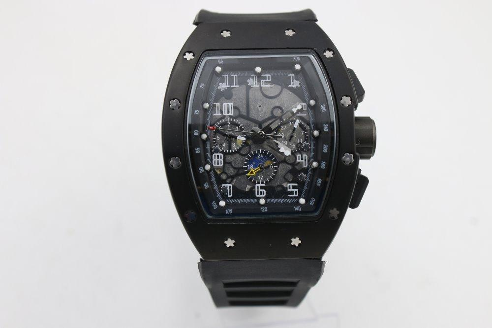 высокое качество Man 011 часы резиновый черный корпус 43мм черный ремешок автоматика Шесть-указатель функции часы