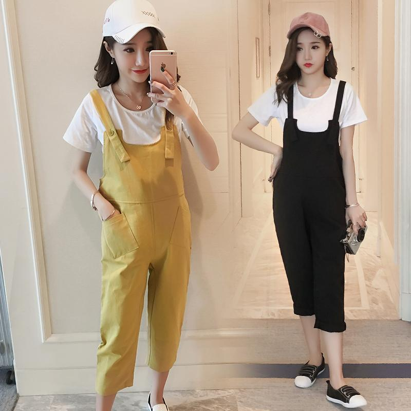 Maternity Overalls Fashion Washed Cotton Loose Trousers Clothes for Pregnant Women Summer Pregnancy Bib Pants Jumpsuits