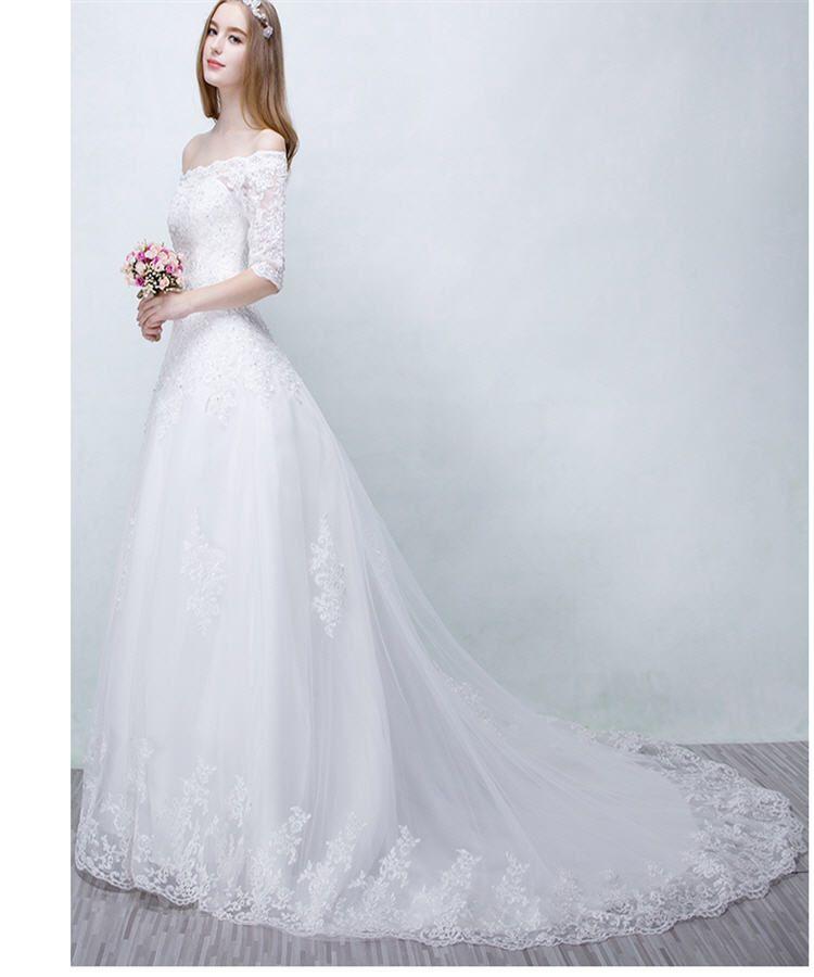 Discount Winter Wedding Dresses Simple White Gowns Vintage Elegant ...