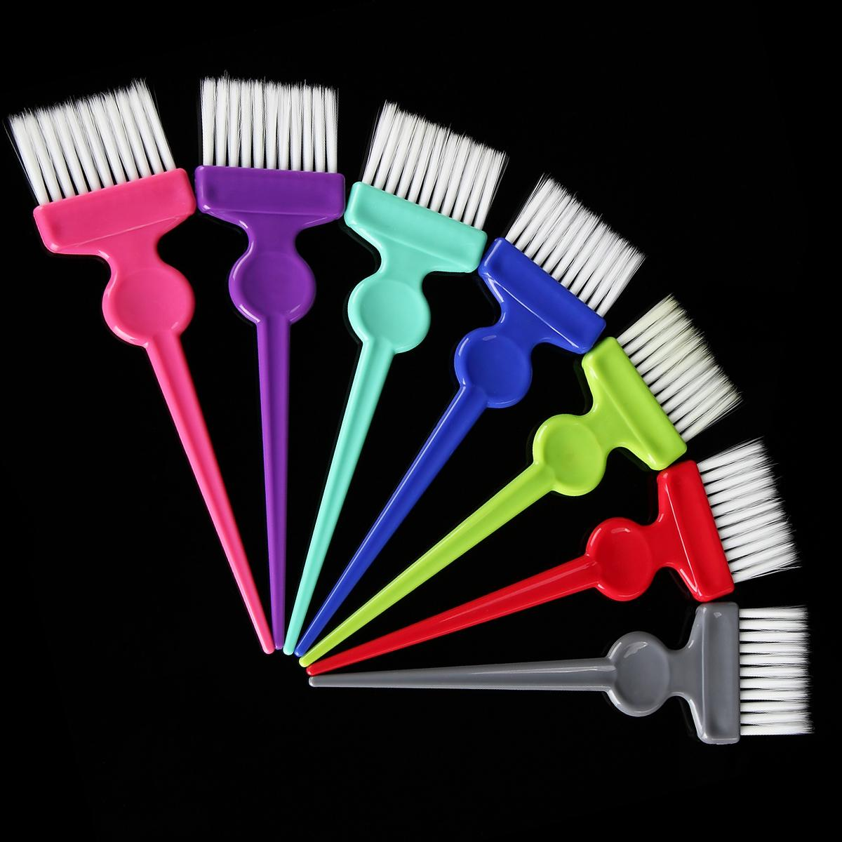 2Pc Random Color Hair Dyeing Brush Comb Salon Barber Tinting Hairdressing Hairstyling Pigment Coloring Dye Tool Partition End