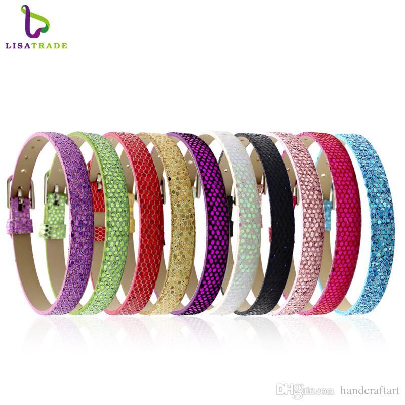 10pcs 8mm brillant en cuir PU Bracelet Bracelet Mix Couleur Fit 8mm glisser charmes / lettres de diapositives LSBR06 * 10