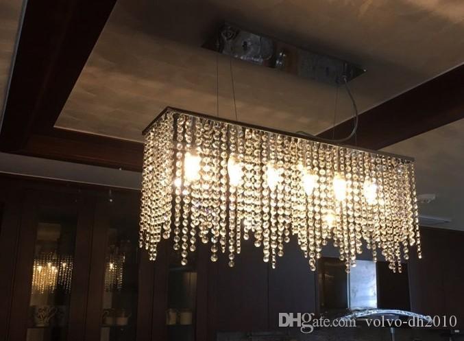 Lampadario di cristallo moderno luce per sala da pranzo lampadari di cristallo a led rettangolo lampadario da cucina illuminazione a led lampada a sospensione LLFA