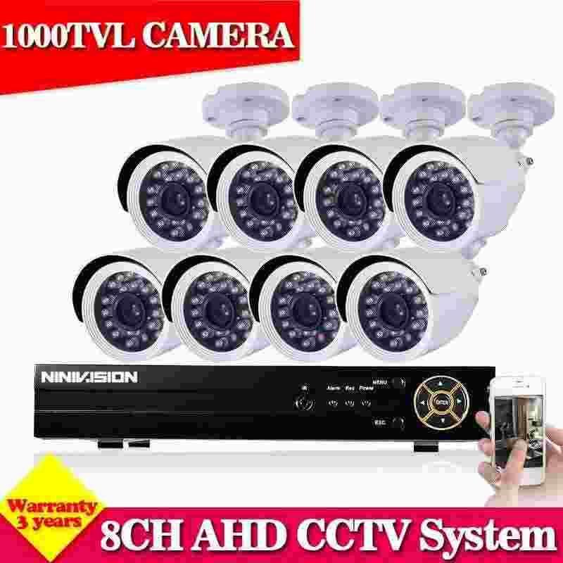 NINI AHD 8CH 1080N 960H HDMI DVR CCTV system White 1000TVL IR-Cut outdoor Home Security Camera video surveillance Kit