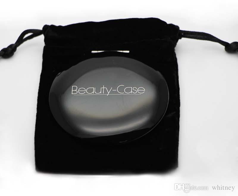 Personalized Custom Compact Mirror Engraved Pocket Mirror Matte Black Color + Velvet Bag M068C DHL FREE SHIPPING