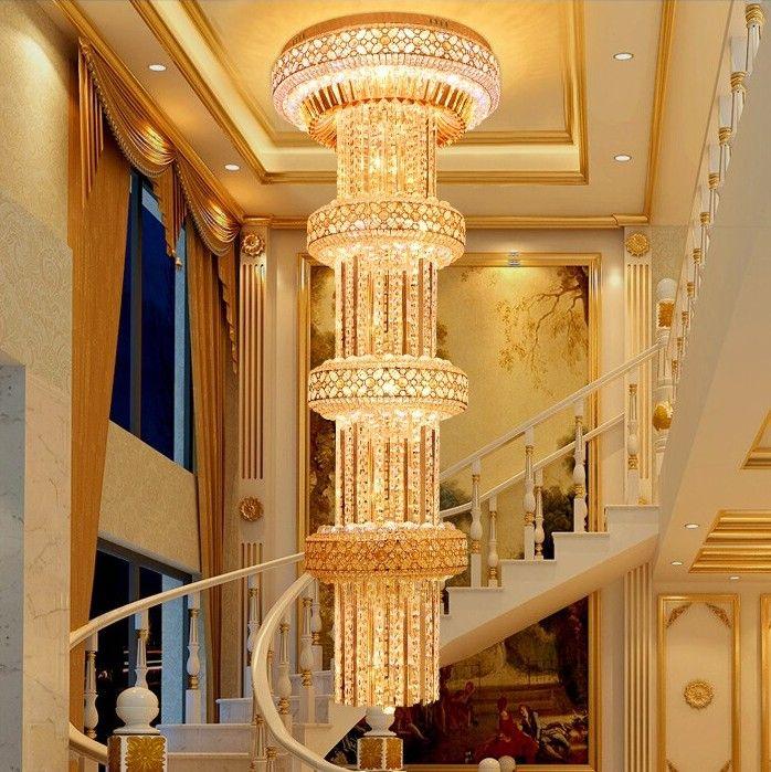 D600mm H2000mm S Gold Große Luxus Kristall Kronleuchter K9Crystal Für Hotellobby Doppelboden Kristall E14 * 30 LED Lampe LLFA