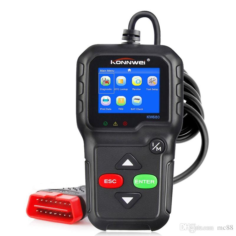 OBD2 Scanner, universelle OBD II CAN-Diagnosescanner Auto Motor Fehlercode Reader-Scan-Tool für Check Engine Licht KW680 mit O2 Sensor Test