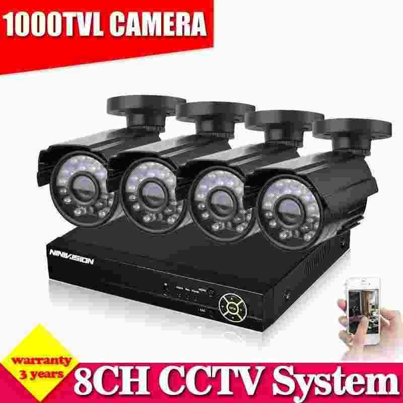Home Security 8CH 960H HDMI DVR 1000TVL Outdoor CCTV Camera System 8 Channel Video Surveillance Kit With 1TB HDD