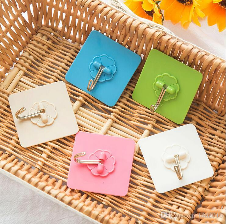 hot sale home bathroom kitchen accessories colorful plastic self adhesive door hooks holder hanger hanging wall hooks for storage