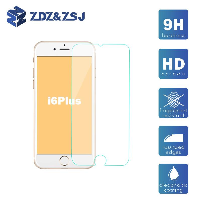 9H tempered glass For iphone 6 plus screen protector protective guard film front case cover +clean kits 50pcs/lot