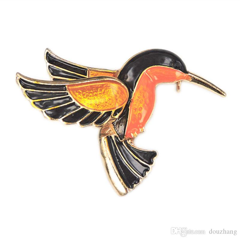 Hot Hummingbird Brooch Animal Broach Enamel Gold Plated Brooches Pin for Women Jewelry Accessories For Gifts Wholesale 12 Pcs