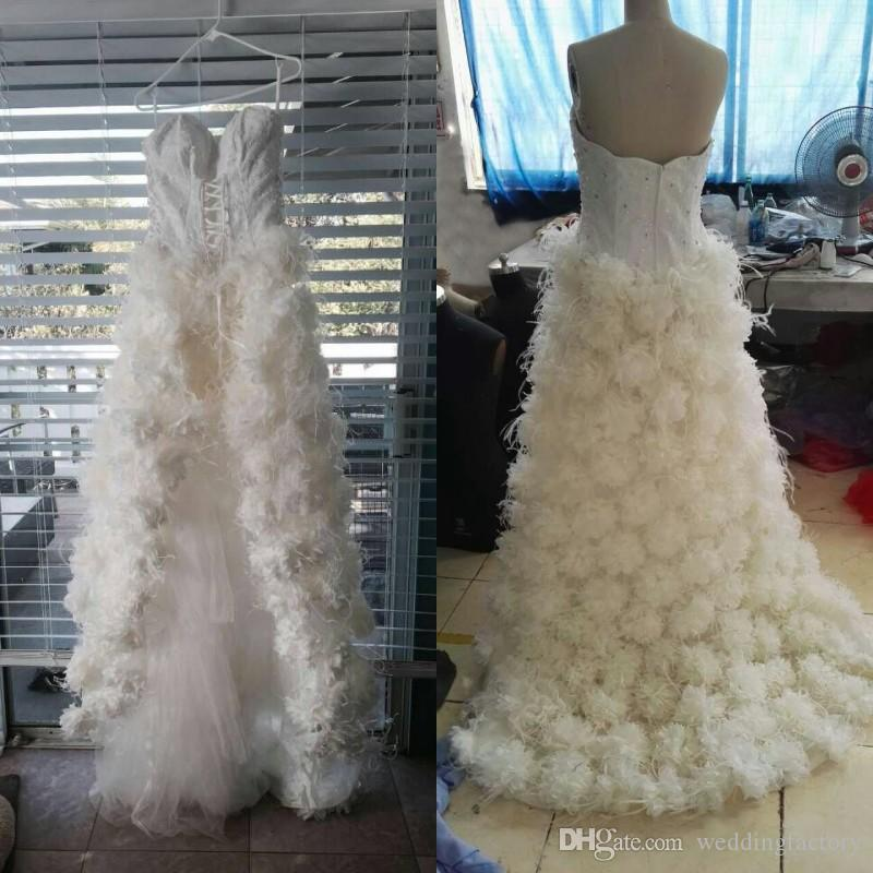 High Quality Real Picture High Low Wedding Dress Luxury Feather Bridal Gowns Beads Sequins Crystals Lace Top Handmade Flowers Zipper Back
