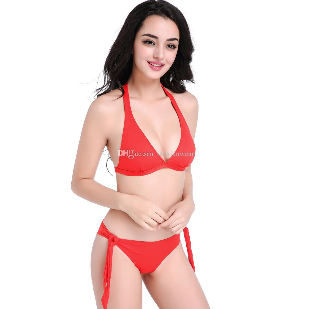 8f19dff257 New beautiful women bikini solid color fashion Sexy beautiful hollow back  strap with high elastic swimsuit No chest pad 80%Nylon red 1103