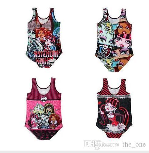 Kız Çocuk Bikini 2017 Mayo Tek Parça Mayo Mayo Çocuklar Yüzme Suit Plaj Bikini Set Baskı Canavar Yüksek