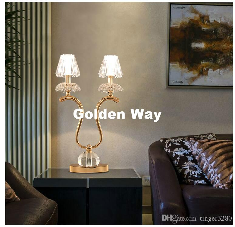 Free Shipping Crystal Table Lamp Modern Nordic Crystal Table Lamp D380mm H640mm LED European Style Bedroom Bedside Lighting Lamp