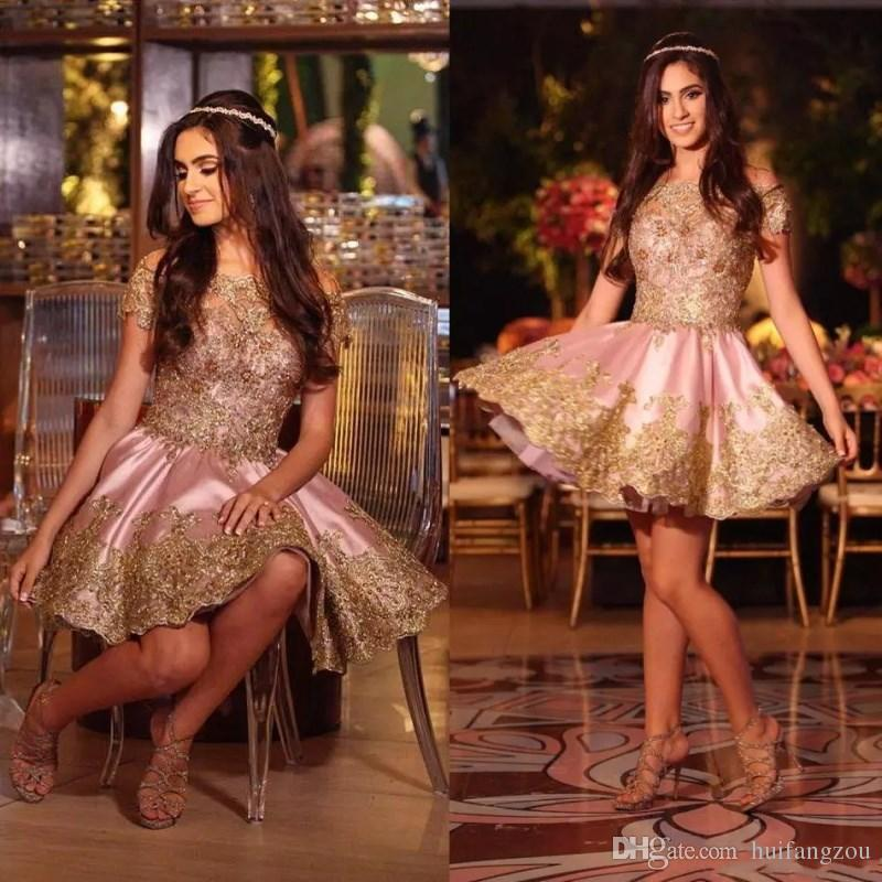 Shiny Prom Dresses Free Shipping Arabic Capped Sleeves off Shoulder Gold Lace Appliques Fashion Dresses Custom Made Cocktail Dresses