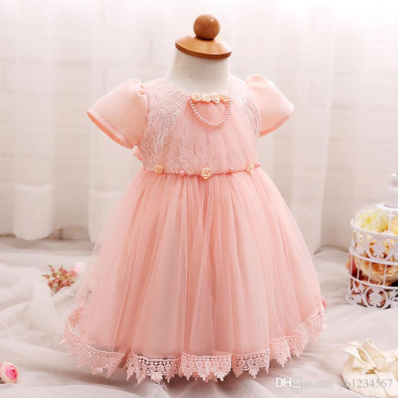 2018 Baby Girl Summer Lace Dress Infant One Year Old Birthday Party ...