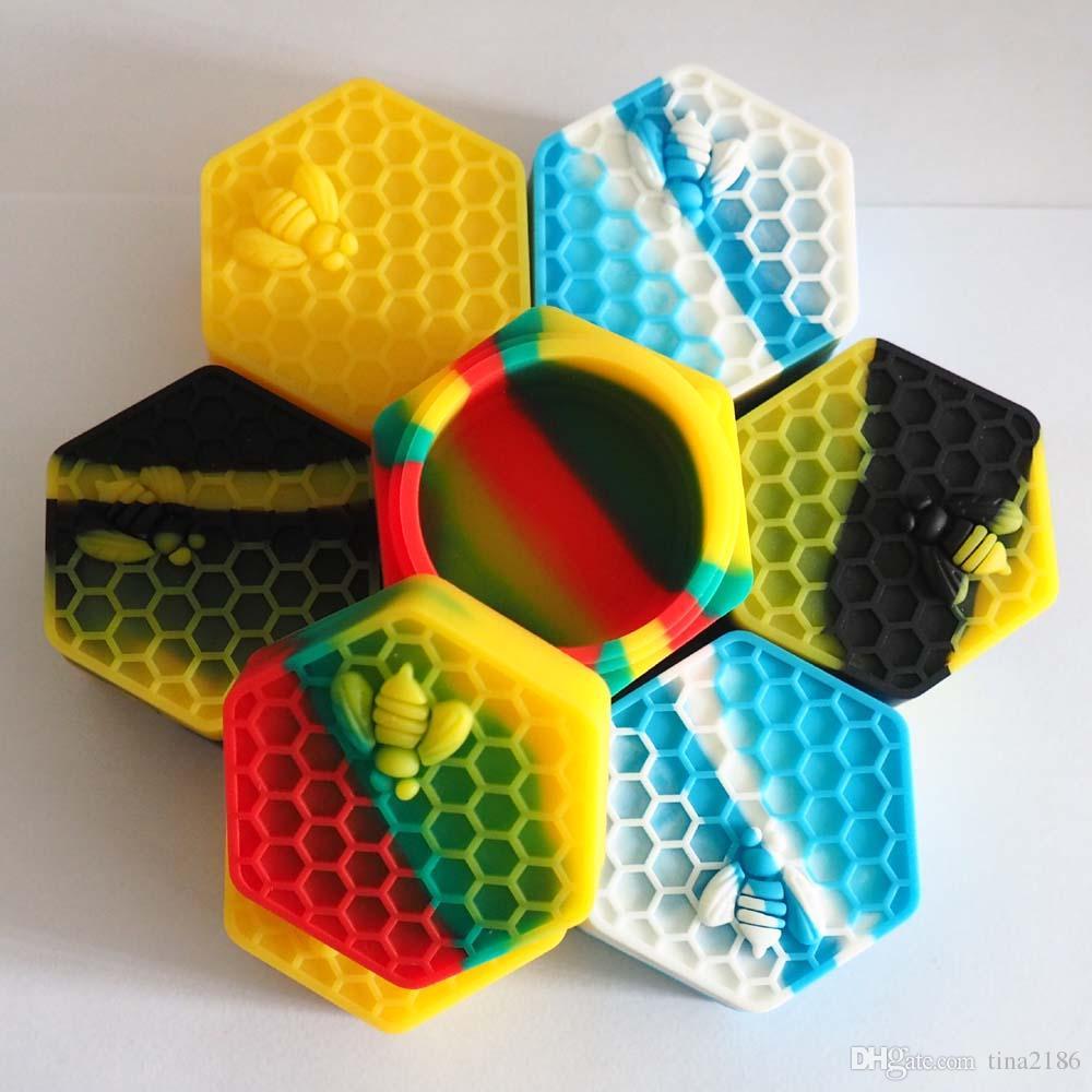 5 unids / lote miel de abeja hexágono Contenedores de silicona Frascos de contenedores Contenedor de silicona para aceite Crumble Honey Wax Silicone Jars Dab