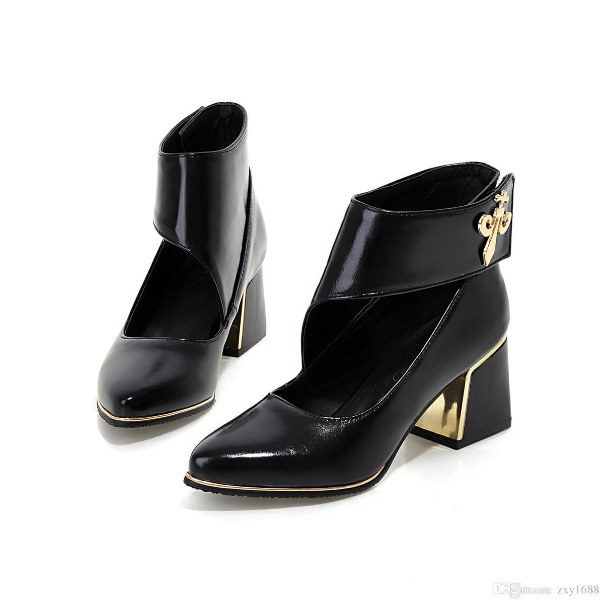 2017 primavera e autunno, Europa e America nuovo stile, pulsante appiccicoso, tinta unita, semplice ed elegante, sandali femminili cavi AYY 060