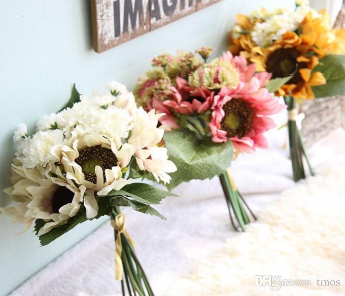 Artificiale pittura a olio Colore girasole Mazzo all'ingrosso opzione ciondoli girasoli artificiali per assestamento set o decorazione di mazzi di nozze