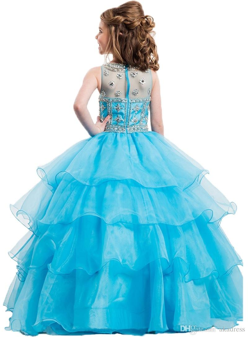Exquisite Blue Girls Pageant Dresses Beaded Crystal Ruffles Tiered ...
