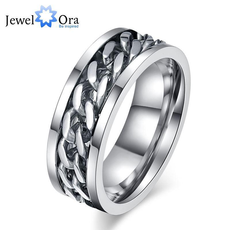 Rotatable cadeia homem jóias de prata moda titanium aço anéis para homens novo 2016 (ri101823) 17401