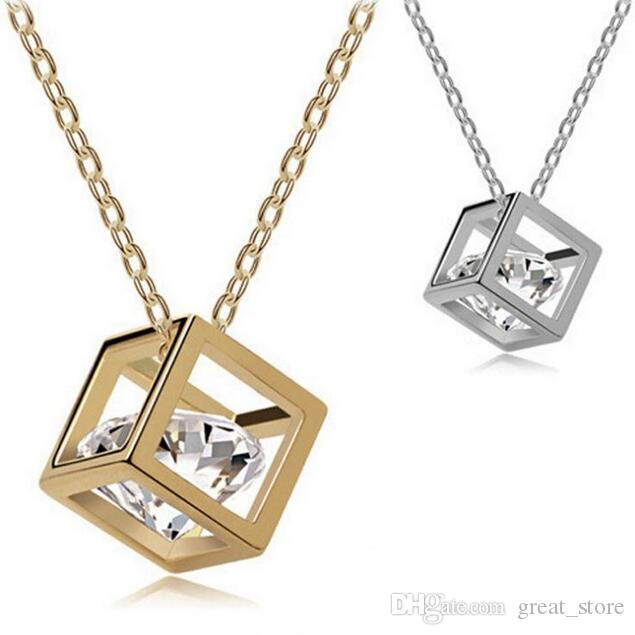 Bestes Geschenk Kristall Schmuck Würfel acht Herz acht Pfeile Zirconhalskette Liebe Anhänger WFN422 (mit Kette) Mischungsauftrag 20 Stücke viel