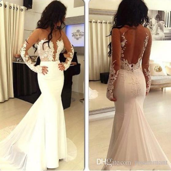 Neue Applikationen Spitze Langarm Satin Satin Prom Kleid Meerjungfrau Abendkleid Formale Partykleid
