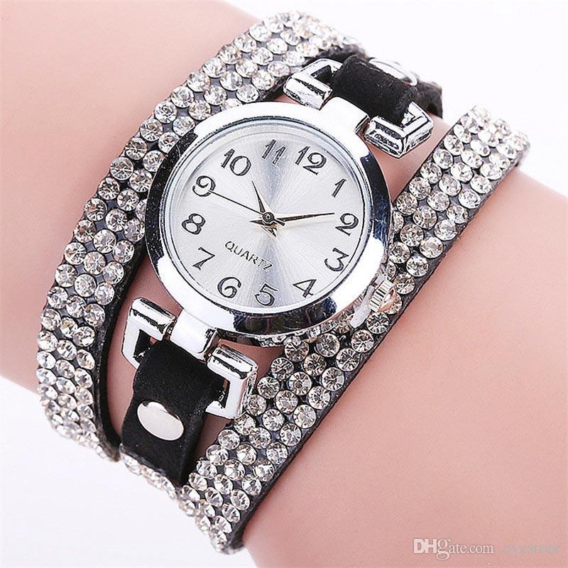 Couro de strass rodada pulseira relógios de pulso mulheres relógio vestido relógio relógio vintage senhora relógio de quartzo