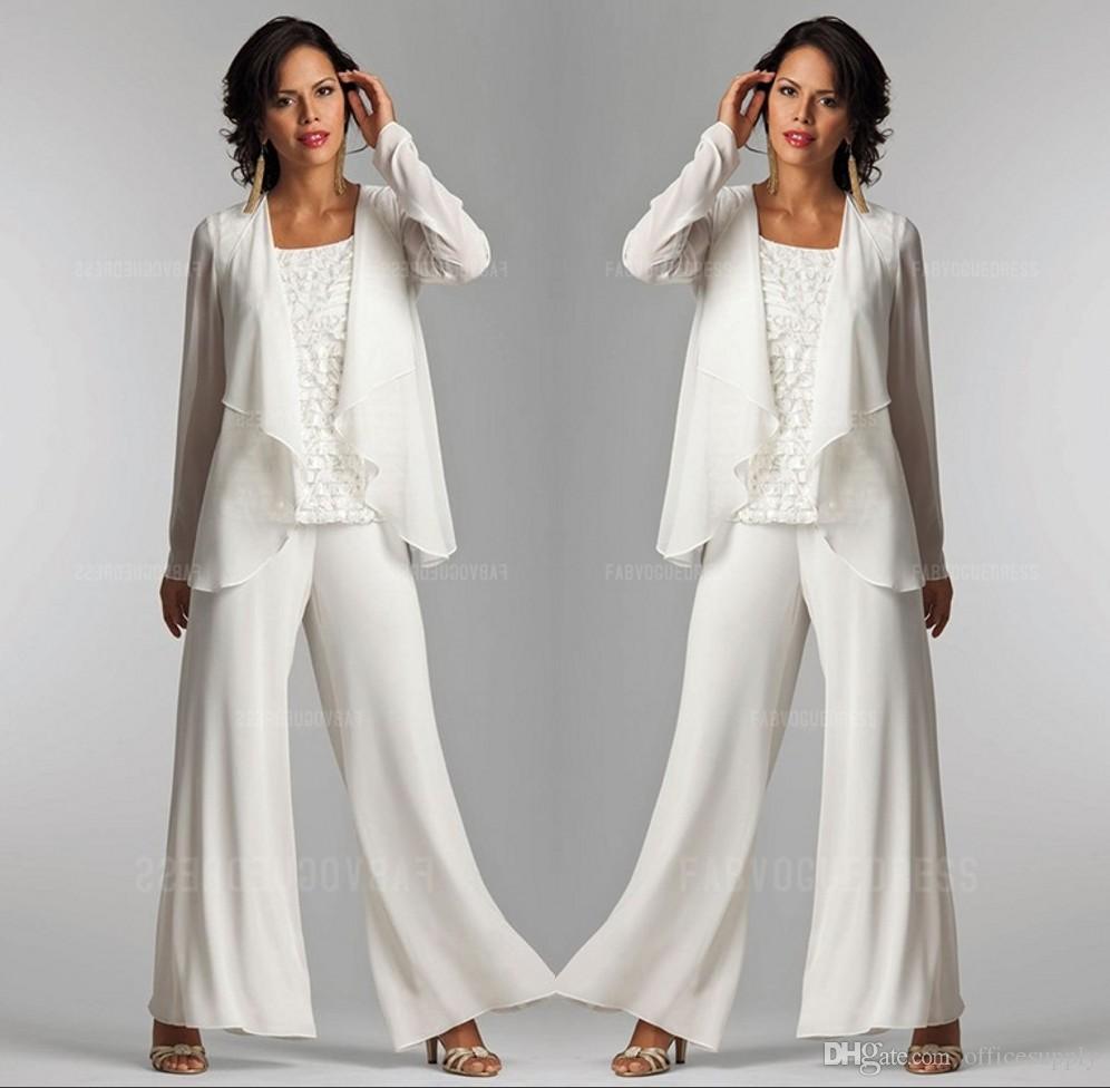 2020 Avorio Bianco Chiffon Lace Lady Pantaloni MADRE SOTTO ABILITÀ MADRE Della Sposa Sposo con Giacca Elegante Donne Delle Desidrimenti Party Dresses Pantaloni