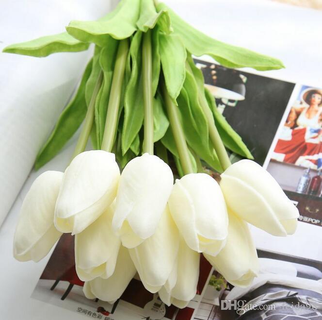 Pu mini tulipano fiore reale tocco matrimonio bouquet di fiori artificiali fiori di seta per la casa decorazione del partito G499