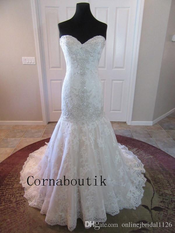 Real Photos Custom Made Mermaid Fit and Flare Sweetheart Tulle Pleated Lace Appliques Beading Bridal Gown Wedding Dresses CSUE-1264 Marriage