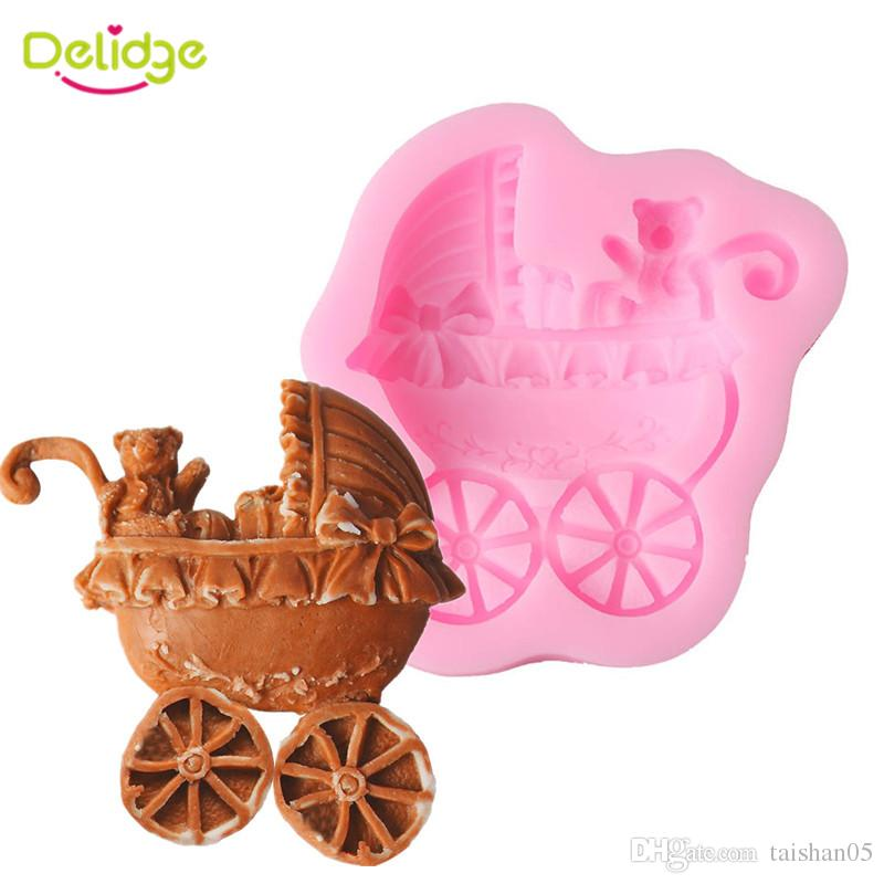 1pc Baby Carriage Silicone Cake Mold 3D Fondant Cake Decorating Tools DIY Bear Car Chocolate Biscuit Baking Mould