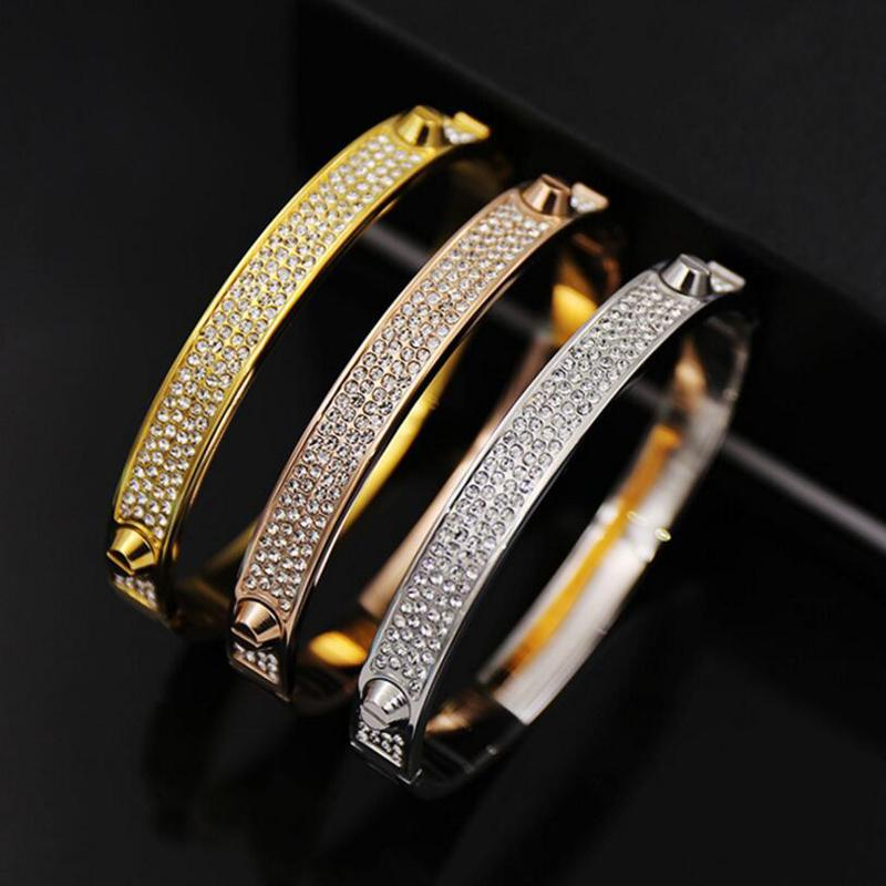 Brand Bijoux Bangles Rivet 316 L Titanium Stainless Steel Full Crystal Bangles Bracelets Fashion Jewelry For Women and Men